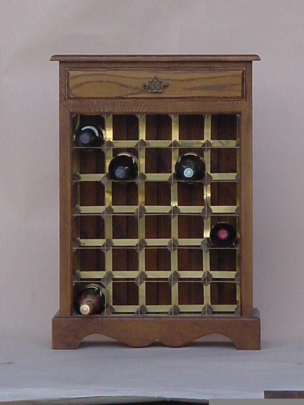Oak wine cabinet brass rack