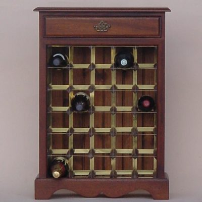 Mahogany wine cabinet brass rack