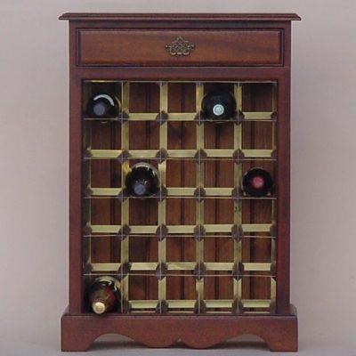 Mahogany wine cabinet brass rack