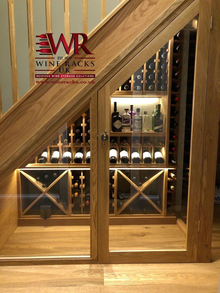 Solid Oak understairs wine cellar