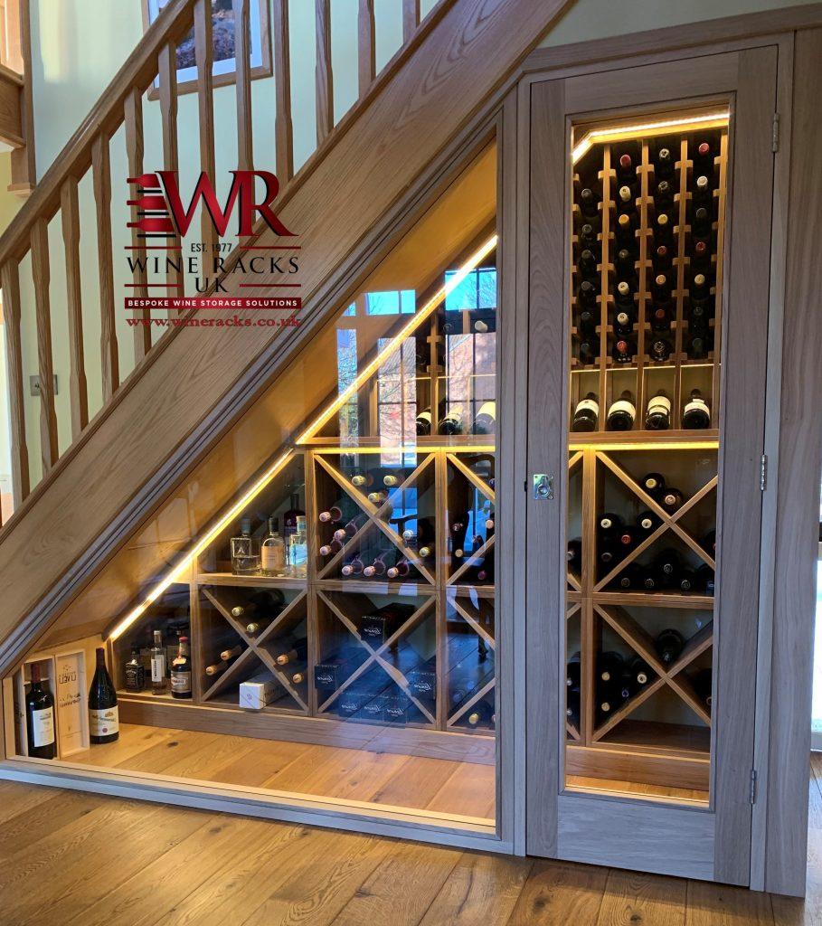 Solid oak LED Lights wine rack