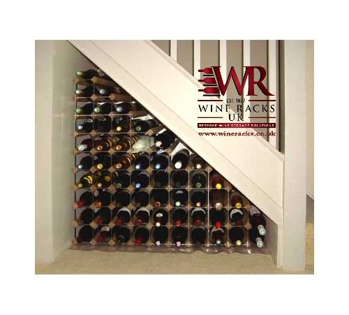 Traditional wood-metal under-stair wine rack