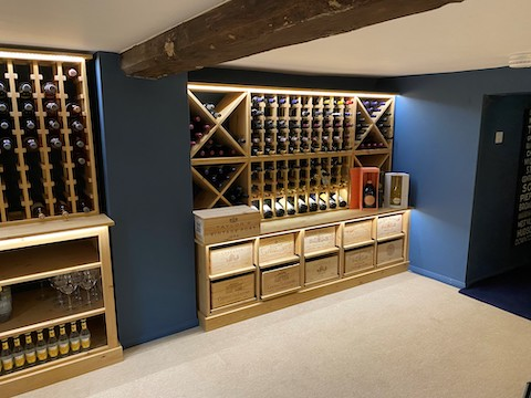 solid pine wine cellar