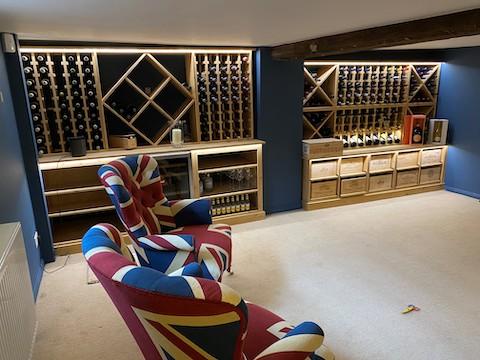 solid pine light oak stain wine cellar