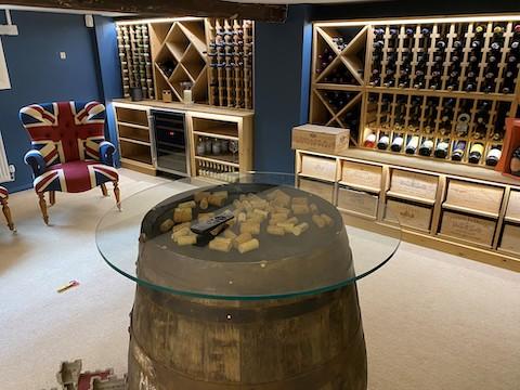solid pine light oak wine cellar