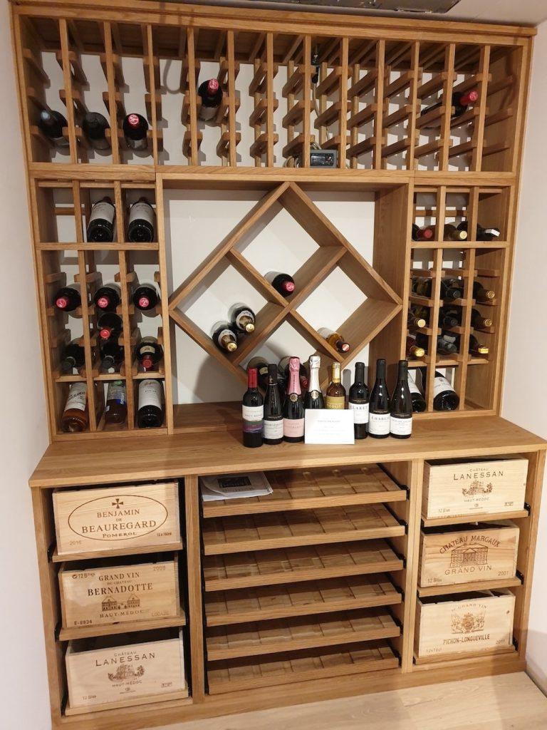 Solid oak wine racking unit