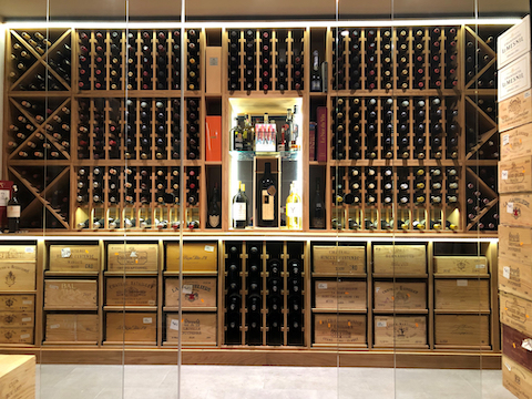 wine cellar made out of solid oak