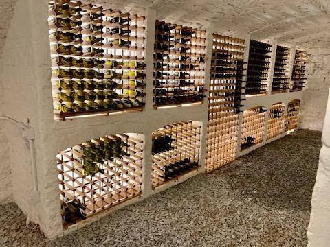 wood and metal wine cellar